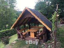 Log Gazebo, Bespoke, Tree Trunk, Hot Tub Shelter, Handmade Pavilion, Wooden Pergola