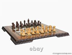 Luxury handmade chess set-wooden chessmen WALNUT mosaic chess board-EXTRA QUEENS
