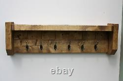 Matching Farmhouse Wooden Coat Rack And Shoe Boot Rack Bench Solid Chunky Rustic