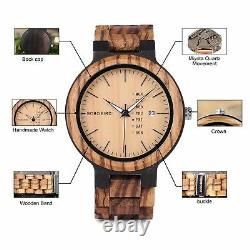 Mens Wooden Watch Analog Quartz Zebra Sandalwood Handmade Vintage Casual Bamboo