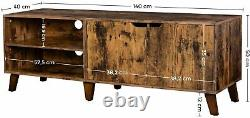NEW Industrial TV Stand Unit Cabinet With 2 Doors Shelves Vintage Retro Wooden