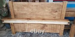 NEW SOLID WOOD RUSTIC CHUNKY DOUBLE BED WITH LOW FOOTEND, WOODEN PLANK 4ft6 BED