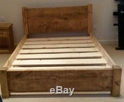 NEW SOLID WOOD RUSTIC CHUNKY DOUBLE BED WITH LOW FOOTEND, WOODEN PLANK 4ft 6 BED
