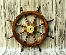 Nautical 36 Wooden Ship Steering Wheel Pirate Decor Wood Brass Wall Boat Style