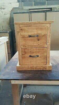 New Solid Wood Rustic Chunky 2 Drawer Bedside Cabinet Wooden Bedside Table