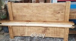 New Solid Wood Rustic Chunky Kingsize Bed With Low Footend, Wooden Plank Bed