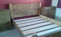 New Solid Wood Rustic Chunky Kingsize Plank Bed, Wooden Bed 5FT Chunky Bed