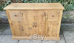 New Solid Wood Rustic Chunky Plank Multi Cupboard Wooden Sideboard With Drawers