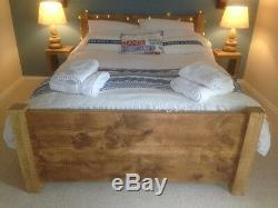 New Solid Wood Rustic Chunky Plank Wooden 4'6 Double Bed With Plank Footboard
