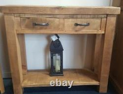 New Solid Wood Rustic Chunky Plank Wooden Console Hall Table Made To Measure
