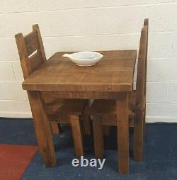 New Solid Wood Rustic Chunky Plank Wooden Kitchen Dining Table Made To Measure