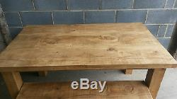 New Solid Wood Rustic Chunky Wooden Plank Kitchen Dining Table Made To Measure