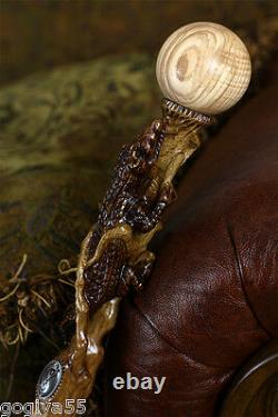 New Wood Crocodile Hand Carved Walking Cane Hiking Stick Staff Wooden Top Knob
