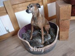 Oak Wine Barrel Dog Bed Pet Cat Puppy Indoor or Outdoor Use. Wooden Bed