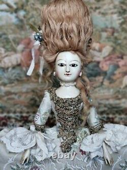 Queen Anne doll, antique-styled wooden doll by D. Vista directly from the artist