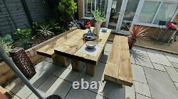 RUSTIC Railway Sleeper Garden Table and Benches, Wooden Garden Furniture Sets