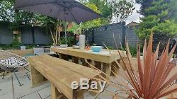 RUSTIC TIMBER Railway Sleeper Garden Table & Bench Set, Wooden Garden Furniture