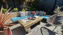 RUSTIC WOODEN Railway Sleeper Coffee & Drinks Low Level Outdoor Table Solid Wood