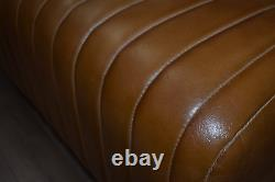 Real Genuine Tan Leather Bench with Wooden Legs & Ribbed Stitching Handmade