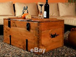 Rustic Coffee Table Wooden Pine Chest Trunk Blanket Box Vintage Cottage Retro