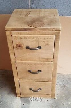 Rustic Solid Wood 3 Drawer Unit, Wooden 3 Drawer Storage Chest Of Drawers