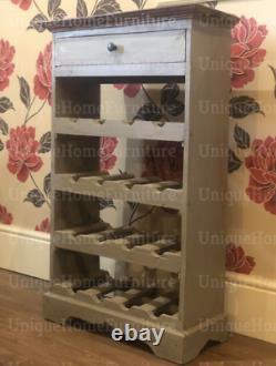 Rustic Wine Cabinet Shabby Chic Furniture Wooden Bottle Holder Storage Bar Rack