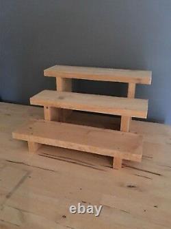 Rustic Wooden 3 Step Display Stand Retail Display Solid Pine40cm Wide