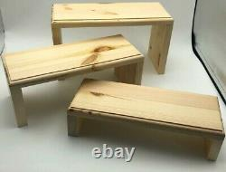 Rustic Wooden 3 Step Retail Display Stand For Shop SOLID PINE 11.9cm(D) 30cm(W)