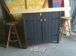 Rustic Wooden Freestanding Kitchen Island Handmade Breakfast Bar Cupboard Unit