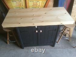 Rustic Wooden Freestanding Kitchen Island Handmade Breakfast Bar double sided