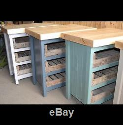 Rustic Wooden Pine Freestanding Kitchen Island Butchers Block Unit In Any Colour
