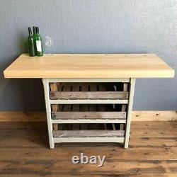 Rustic Wooden Pine Freestanding Kitchen Island Handmade Breakfast Bar Table