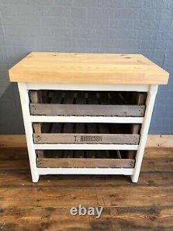 Rustic Wooden Pine Freestanding Kitchen Island Handmade Butchers Block Unit