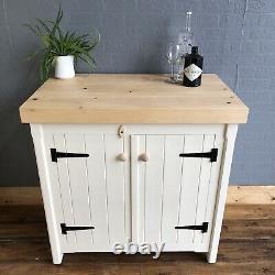 Rustic Wooden Solid Pine Freestanding Kitchen Handmade Cupboard Unit