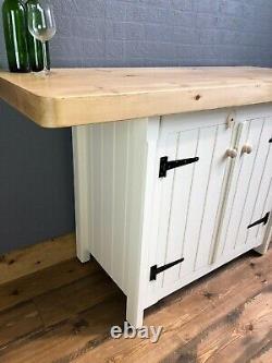 Rustic Wooden Solid Pine Freestanding Kitchen Island Breakfast Bar Cupboard Unit