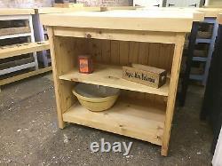 Rustic Wooden Waxed Pine Freestanding Open Kitchen Island Shelving Storage Unit