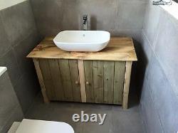 Rustic wooden vanity unit unique hand made en suite bathroom basin 75cm