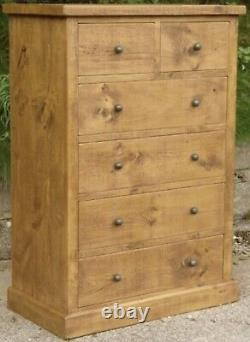 SOLID WOODEN CHEST OF DRAWERS SIDEBOARD RUSTIC PLANK PINE Indigo Furniture NEW