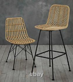 Set of 2 Samui bar stools Wooden bar stools poly woven rattan with metal legs