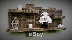 Shelf Unique Handmade Shelving Wall Unit Dark Oak Wax Wood Wooden Extra Large
