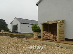 Single Bay Wooden Outdoor Log Store, Fire Wood Storage Shed Hand Made