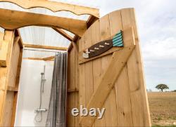 Single Outdoor Shower Cubicle Portable Bathroom Eco Bespoke Handmade Wooden
