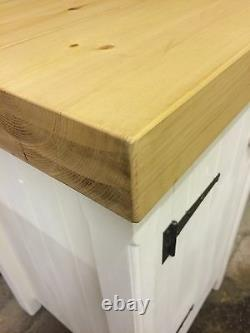 Single Rustic Wooden Solid Pine Freestanding Kitchen Handmade Cupboard Unit