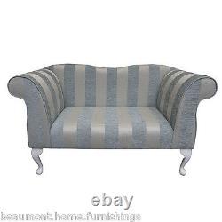 Small Chaise Longue 2 Seater Sofa Handmade in Woburn Blue Stripe Fabric SR17061