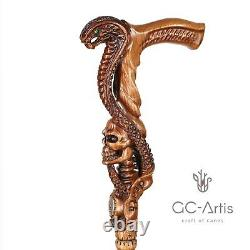 Snake Cobra Mamba & Skull Head Wooden Carved Hand Crafted Walking Stick Cane L