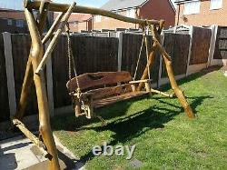 Solid Hand Made Wooden Garden Furniture bench Oak The Swing