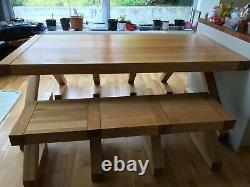 Solid Oak Wooden Dining Table 90cm x 180cm x 77cm (WxLxH), 2 benches 40x144x47