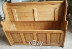 Solid Pine Monks Bench With Pack Panelling, Wooden Storage Seat Made To Order