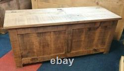 Solid Wood Rustic Chunky Plank Blanket Box, Panelled Storage Trunk, Wooden Trunk