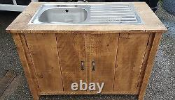 Solid Wood Rustic Chunky Plank Kitchen Sink Unit Wooden Cupboard Made To Order